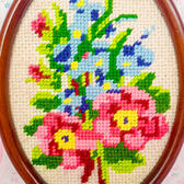 Nordic Cross-Stitch Embroidered Wall Decor Floral/Vintage Retro
