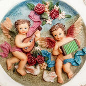 Shabby Chic Romantic Decorative Plate Angelic Cherubs/ Vintage R