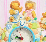 Teddy-bear Picnic Teapot Novelty Alarm Clock / Vintage Retro 80s